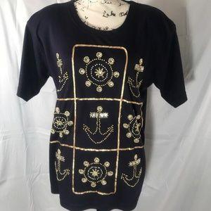Marshall Rousso Woman's Vintage Nautical Shirt S